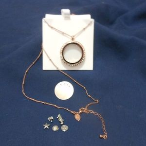 Origami Owl Rose Gold locket with chain & charms